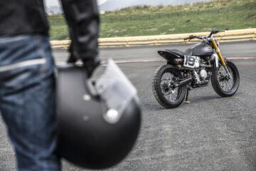 Fantic Caballero 500 Flat Tracker [helmet in hand]