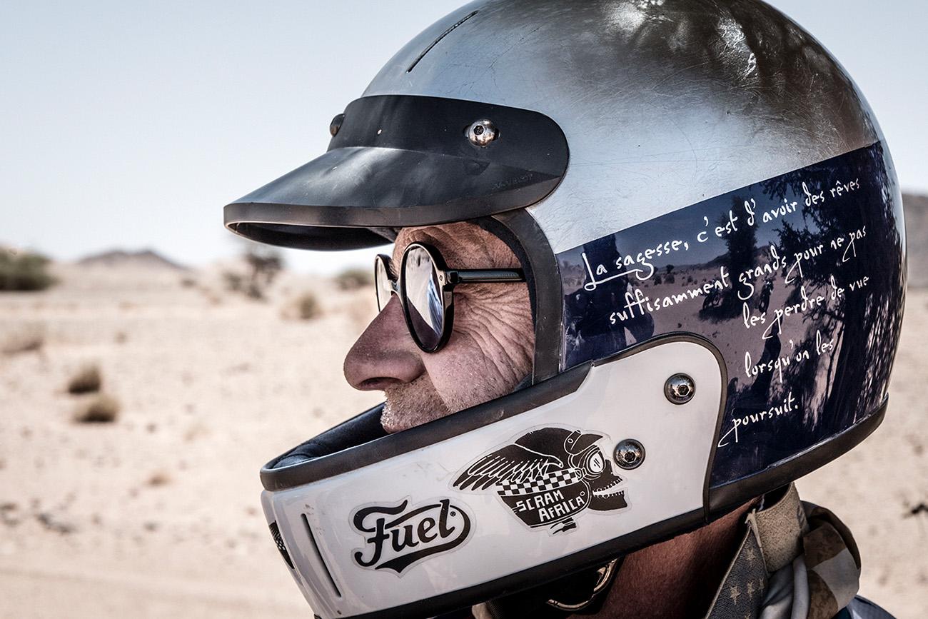 Scram Africa 2019 Rider in a Helmet