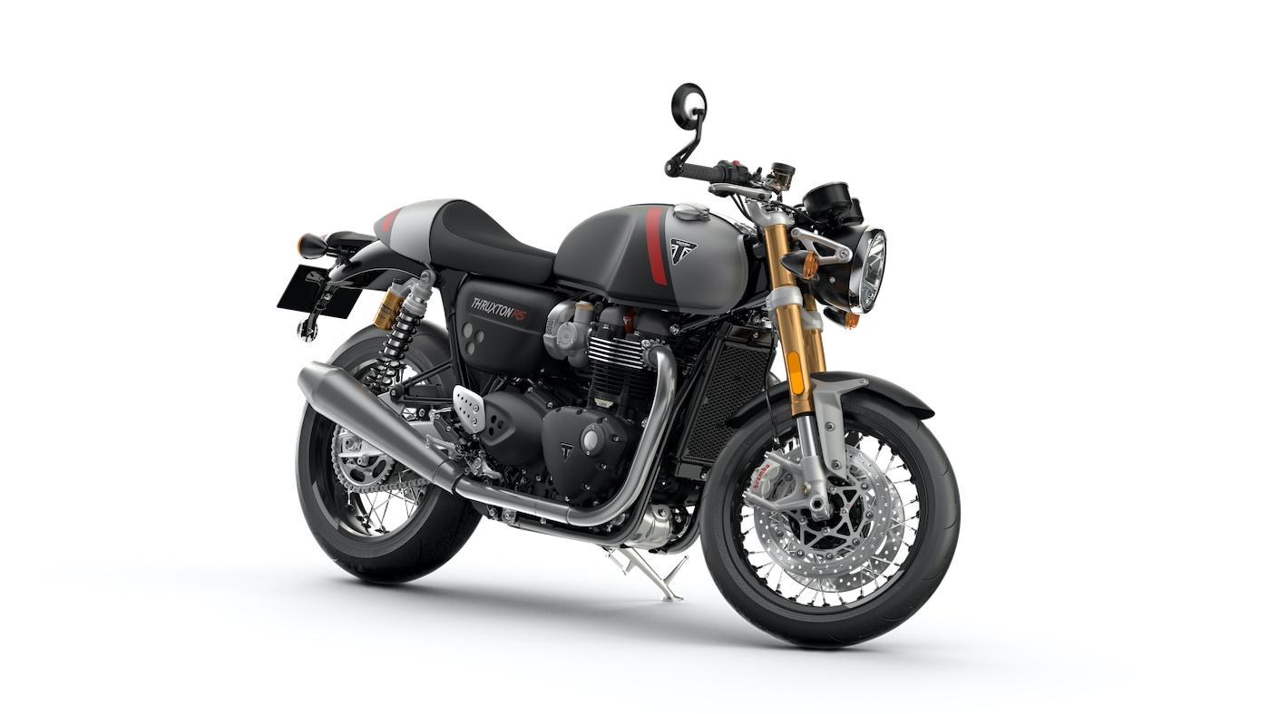 Triumph Thruxton RS Front 3-4 Matt-storm-grey-and-matt-silver-ice
