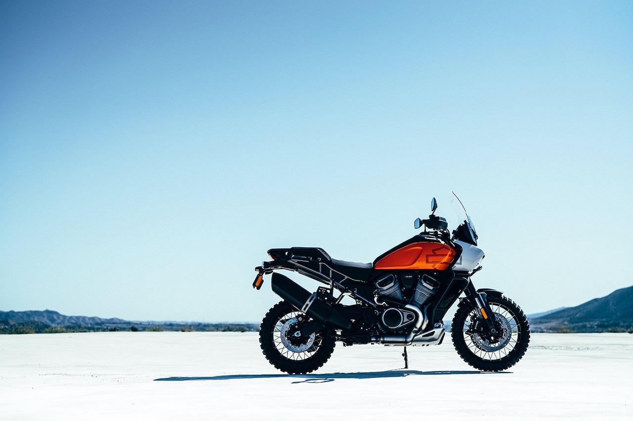 Retro Adventure Harley-Davidson Pan American on salt flats