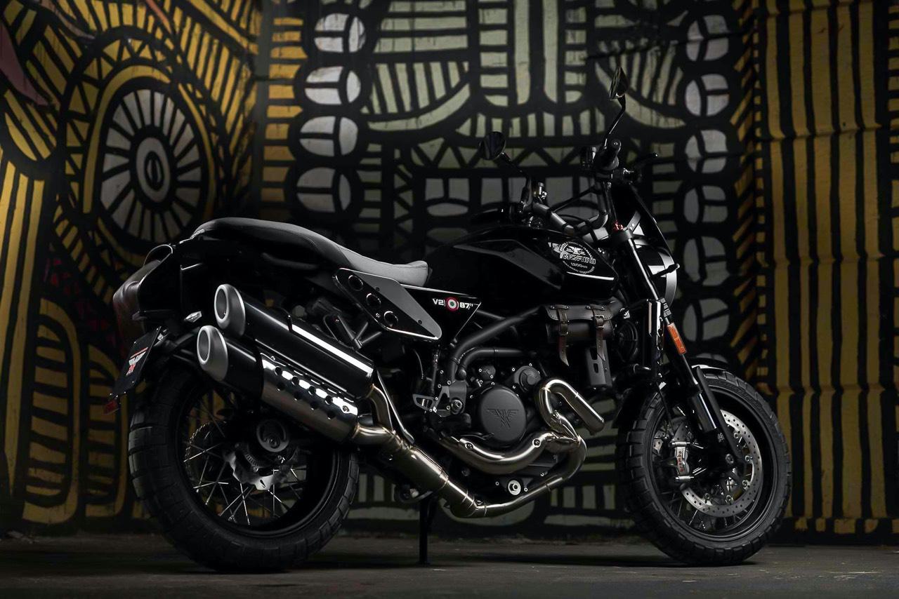 Moto Morini Super Scrambler with graffiti backdrop