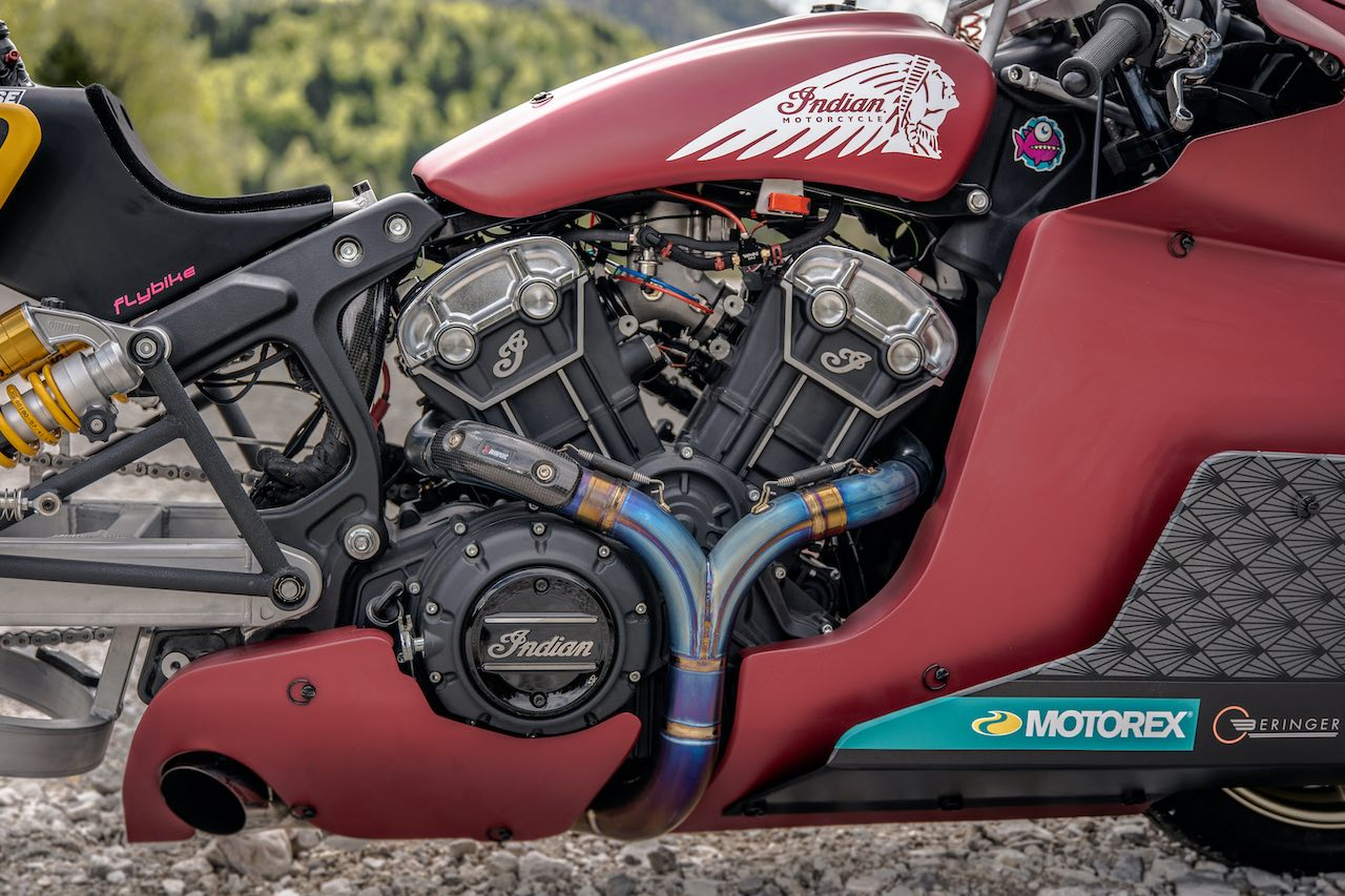 Engine view of Indian Scout Bobber Appaloosa V2