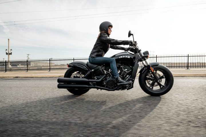 Lone female rider on an Indian Motorcycle Scout Bobber Sixty
