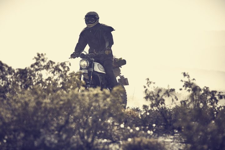 Rider on a Ducati Scrambler wearing El Gringo Jacket