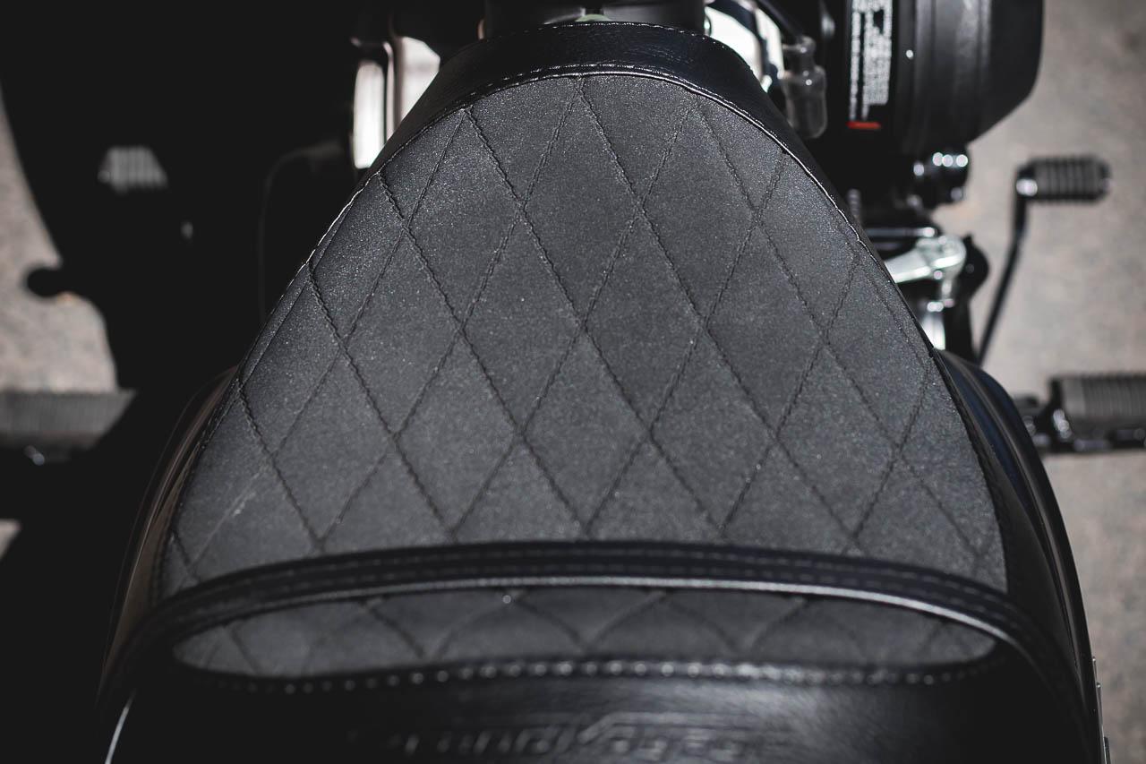 Plush diamond-stitched, pillion ready motorcycle seat.