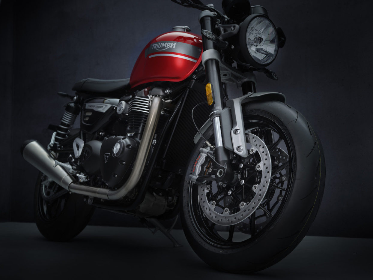 Front Left View of Red Triumph Speed Twin 2021